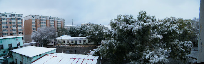 Photo: 1st snow in winter 2012, after a drizzling prelude. Its cozy indoor with water heat, which so essential for northern area like Qiqihar, China.