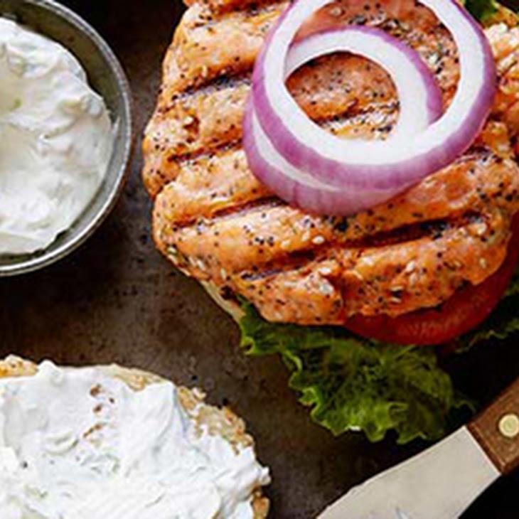 Everything Salmon Burgers with Scallion Sour Cream-Cream Cheese Sauce