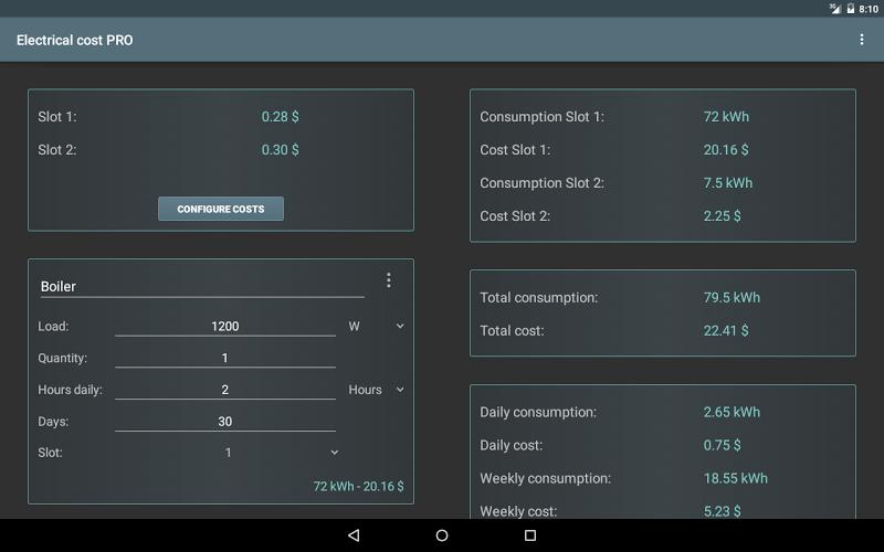 Electrical Cost Screenshot 4