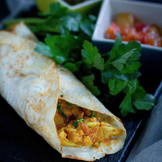 Lentil Crepes with Cauliflower Curry.