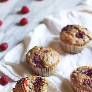 Raspberry, Almond Butter & Banana Oatmeal Muffins.