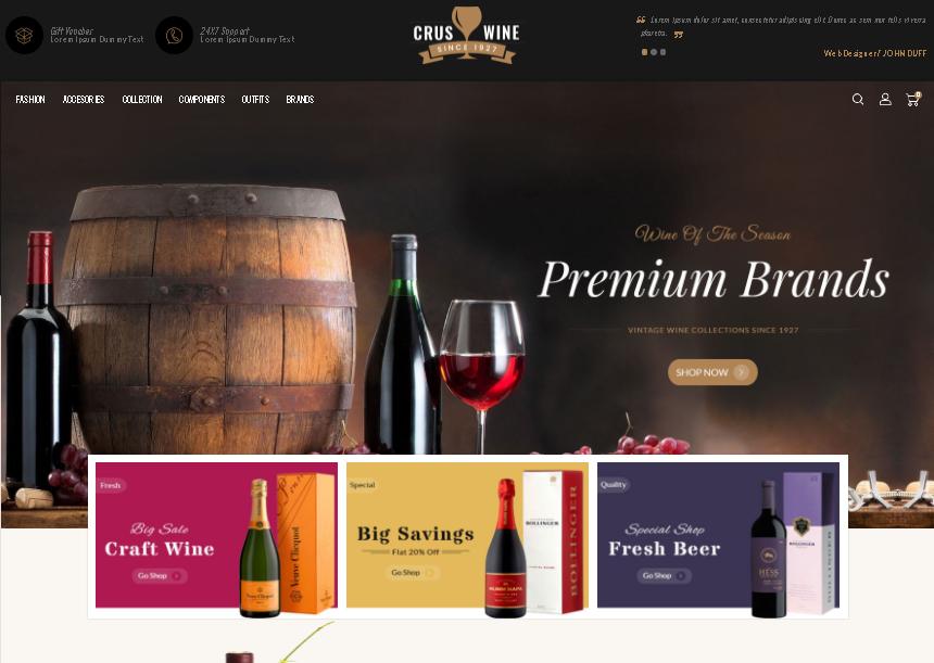 wine opencart theme cruswine