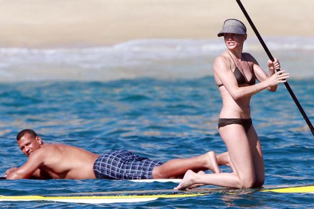 Cameron Diaz paddleboarding in the Bahamas.