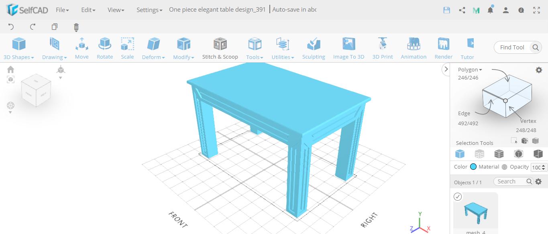 3D designing furniture: D Model of table
