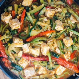 Thai Red Curry Tofu with Zucchini Noodles