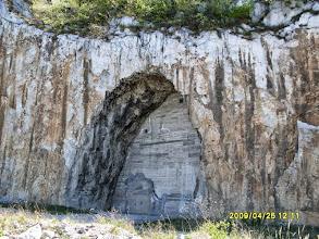 """Photo: My earlier photo of the mountain-side walled hole (~ 25-30 m high). I named this photo """"Area 51"""" - Egy korábbi fotóm a hegy oldalán lévő befalazott lyukról. A képnek az """"51-es körzet"""" címet adtam"""
