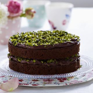 Zucchini Chocolate Cake with Pistachio Nuts.