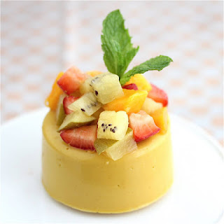 Vegan Mango Panna Cotta with Kiwi, Mango and Strawberries.
