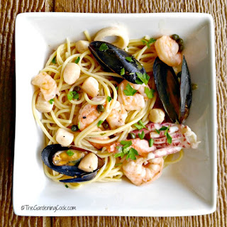Light Seafood Piccata with Pasta.