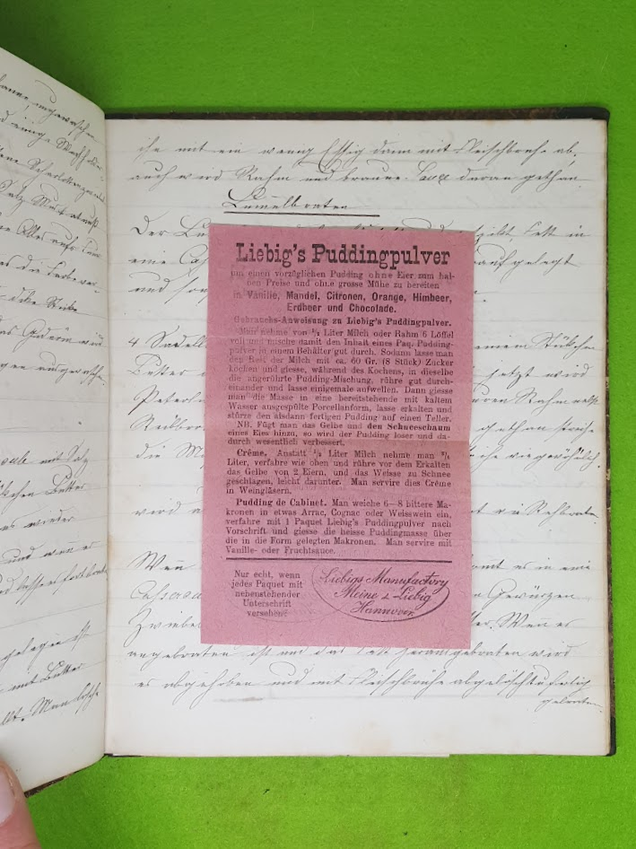 Kochbuch für Wilhelmine Herr, Gaggenau, 1867