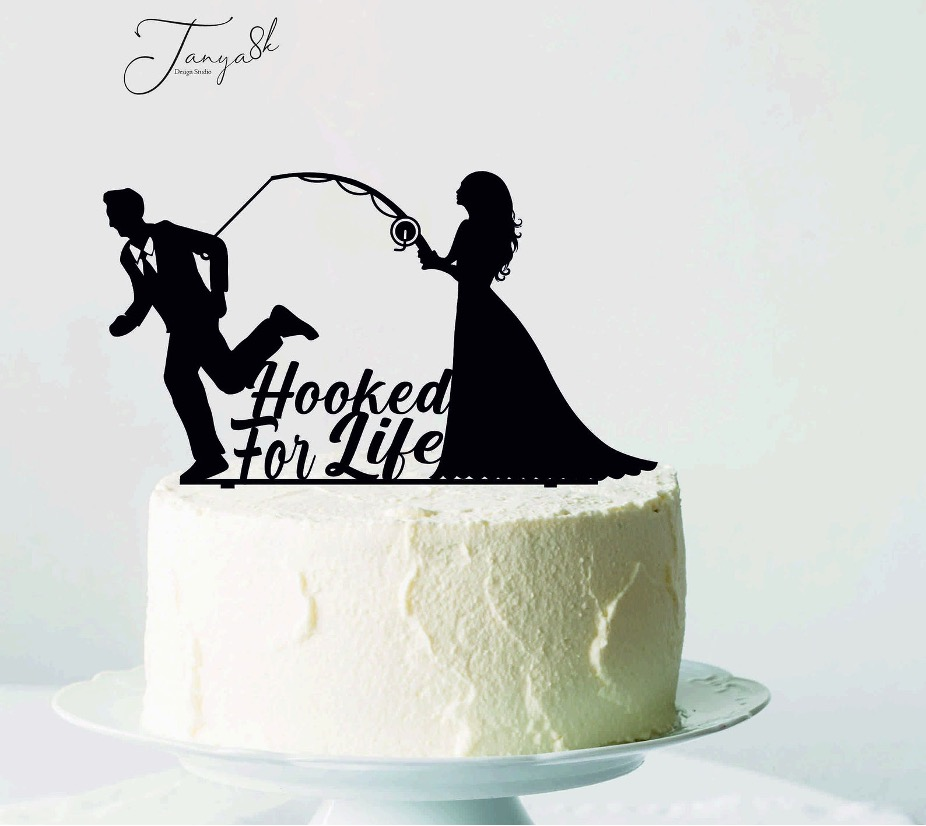 Hooked for life bride and groom cake topper