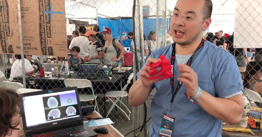 Dr. Alex Chee shows 3D printed surgical models at Maker Faire NY 2017