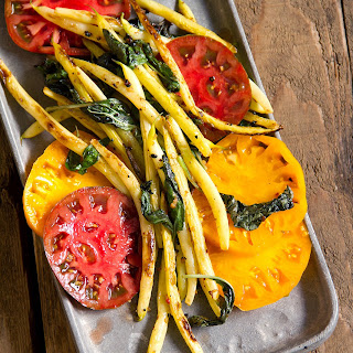 Charred Pole Beans with Heirloom Tomatoes and Basil.