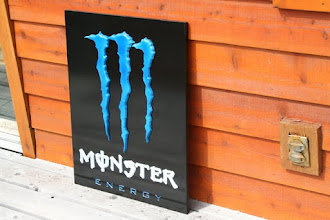 Photo: Carved Sign for Monster Energy Drink in MN. See more wood carved Bank Signs @ signs at www.nicecarvings.com