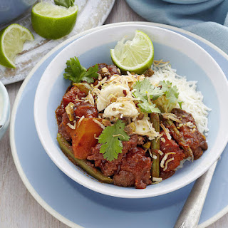 Beef Vindaloo with Toasted Coconut and Banana Sambal