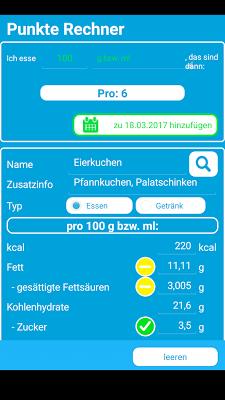 Punkte-Rechner & Diät-Tagebuch - screenshot