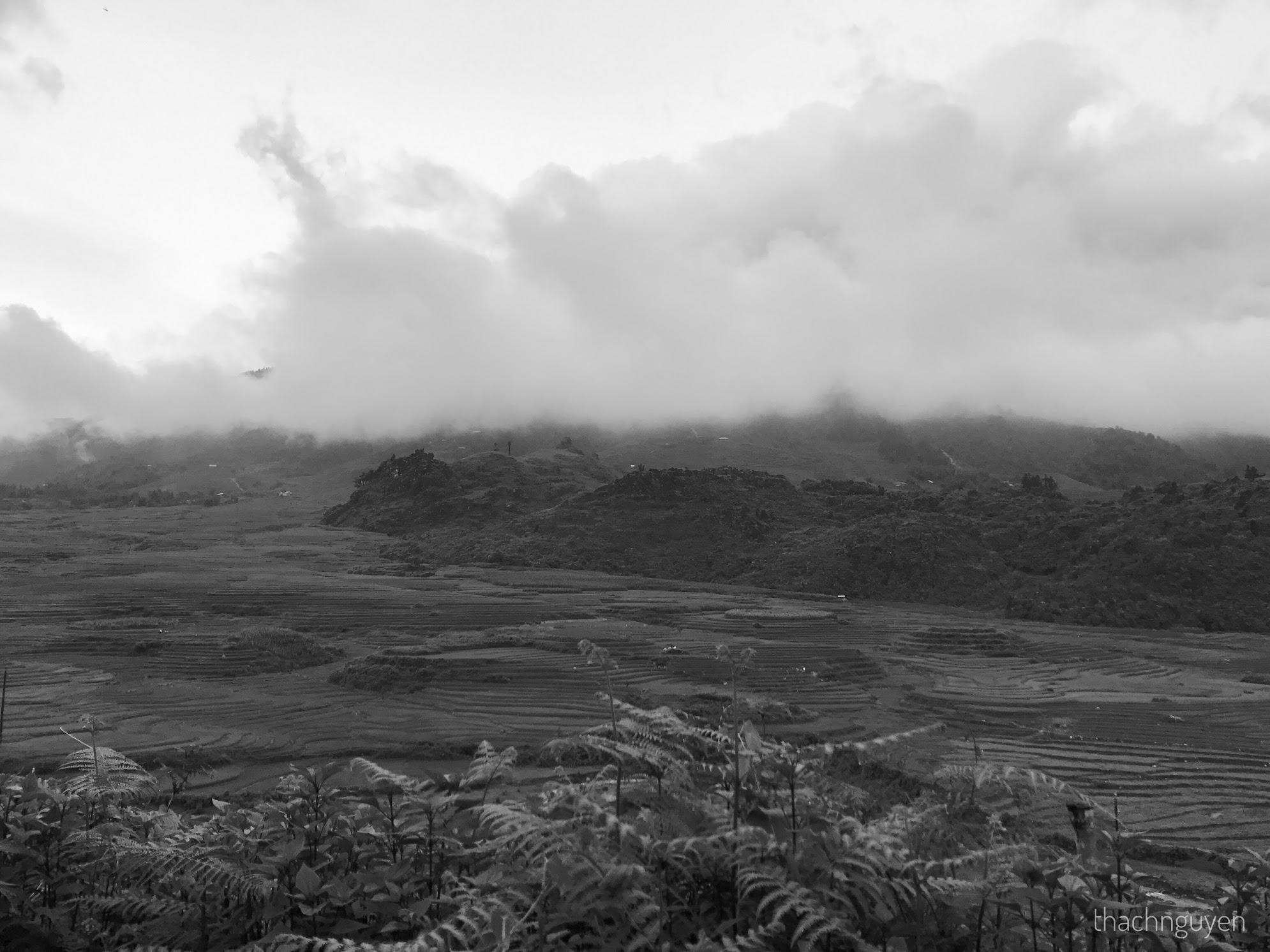 mây phủ đỉnh núi - tả pìn