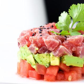 Tuna, Avocado and Watermelon Tartare.