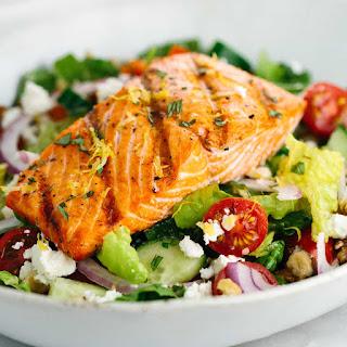 Salmon Greek Salad with Lemon Basil Dressing.