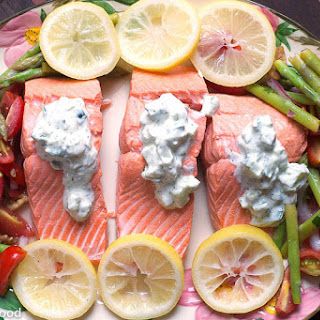 Poached Salmon with Tzatziki