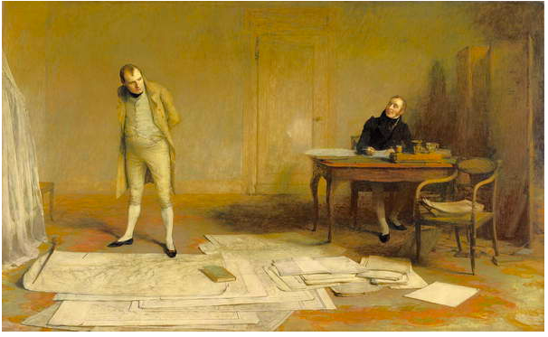 Image of St Helena 1816: Napoleon dictating to Count Las Cases the Account of his campaigns (oil on canvas), Orchardson, William Quiller (1832-1910) © National Museums Liverpool / Bridgeman Images