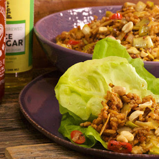 Sriracha Chicken with Peanuts in Lettuce Wraps