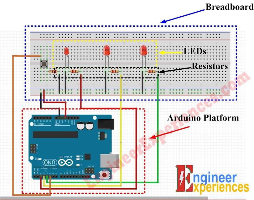 Traffic Light Simulation using Arduino-Circuit Diagram