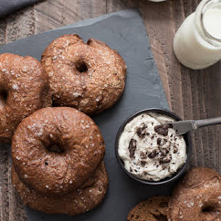 Chocolate Bagels with Cookies & Cream Whipped Cream Cheese.