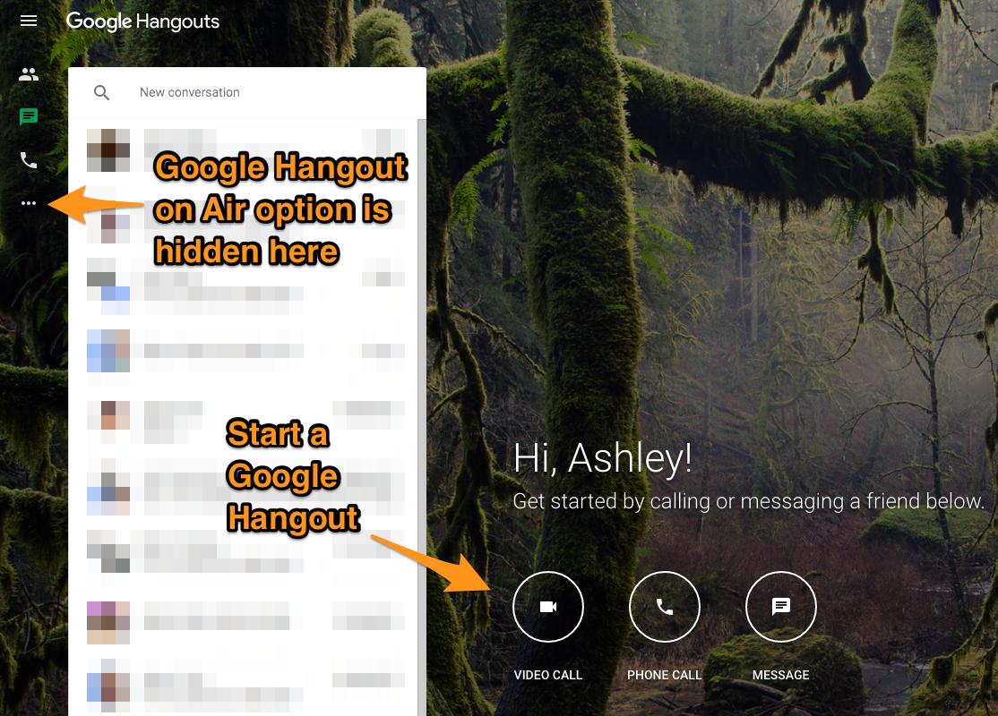 Google Hangouts options.