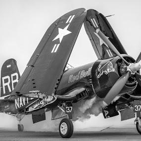 Driftin' by Bogdan Rusu - Transportation Airplanes ( plane, black and white, wings, runway, retro )