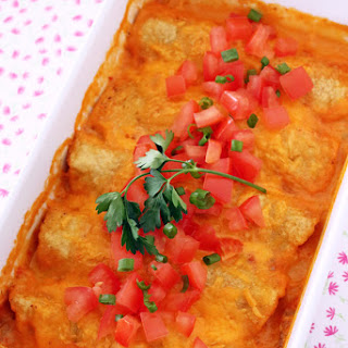 Baked Taco Enchiladas with Cheese Sauce.