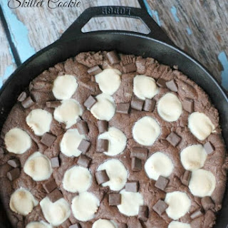 Chocolate Peanut Butter Cup Skillet Cookie.