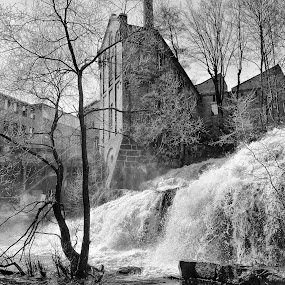 Industry at waterfall by Tom Mehlum - Black & White Landscapes ( oslo, waterfall, old town, industry, downtown, norway, old days )