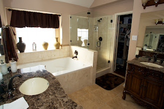 Photo: marble bathroom walls shower and tub surround
