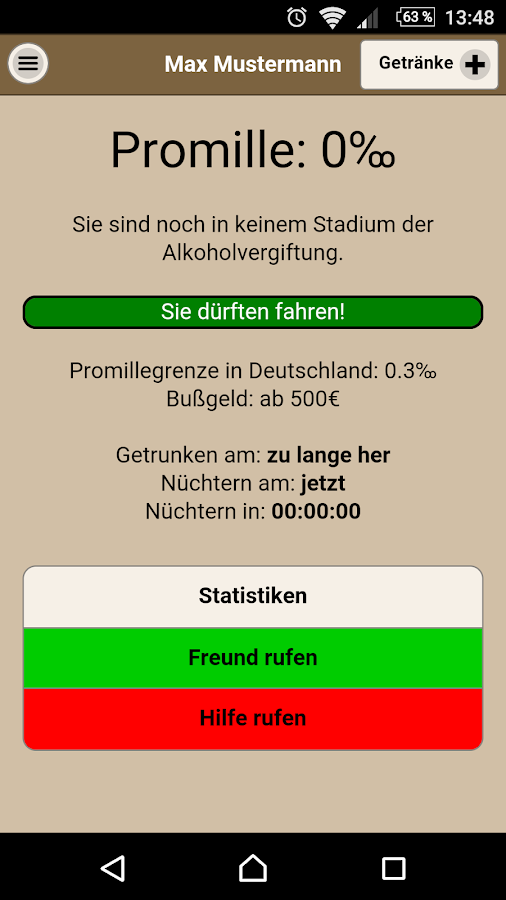 Promillerechner App- screenshot