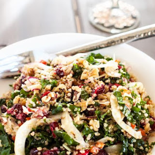 Roasted Garlic Quinoa & Kale Salad with Cranberries Recipe