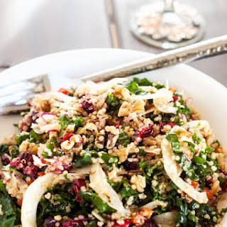Roasted Garlic Quinoa & Kale Salad with Cranberries.