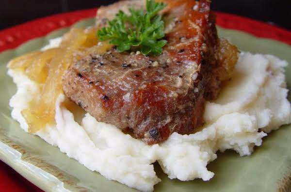 Pork Chops With Glazed Apples And Onions Recipe