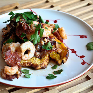 Chorizo Radicchio Shrimp with Plantains