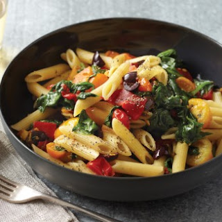 Spinach, Peppers, and Cherry Tomatoes with Penne Rigate.