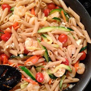 Skillet Shrimp and Vegetable Pasta with Feta Recipe