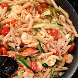 Skillet Shrimp and Vegetable Pasta with Feta.
