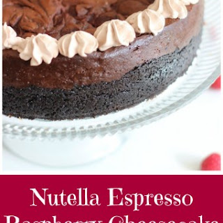 Nutella Espresso Cheesecake with Raspberry Swirl