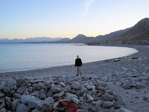 Photo: Randy on the beach at our 2nd night campsite on east side of Carmen Island.   This is a place called San Francisco Bay.