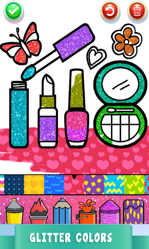 Beauty Drawing Pages Make Up Coloring Book Glitter 2.0 screenshots 2