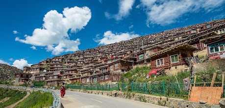 Photo: Neatly built huts at the lower residential area for monks with families.