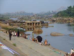 Photo: Bathing ghat along the Tungabhadra River in Hampi.