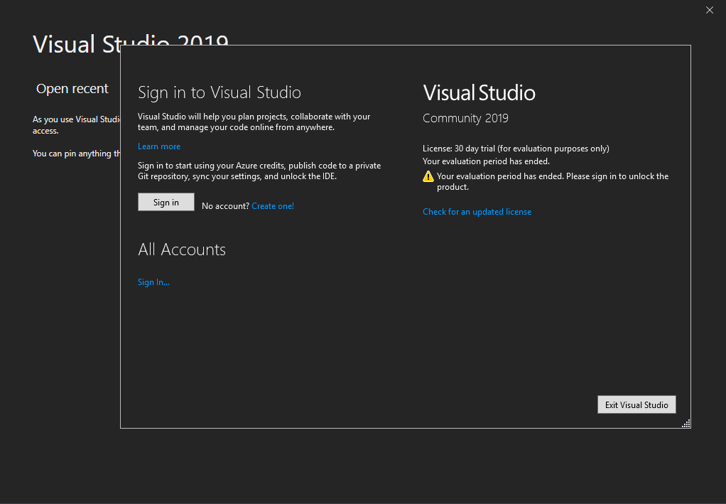 "[Solved] Visual Studio Community Edition ""Your license has expired"" or ""Your evaluation period has ended"""