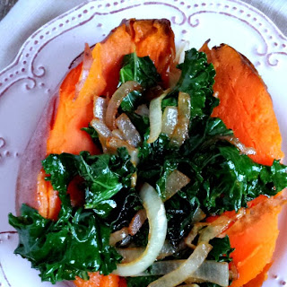 Baked Sweet Potato with Kale & Caramelized Onions.