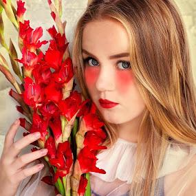 Red is The color of luxury by Inna Fangel - People Portraits of Women ( model, girl, red, beautiful, beauty, flowers )